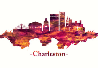 Fototapete - Charleston South Carolina skyline in red