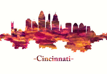 Fototapete - Cincinnati Ohio skyline in red