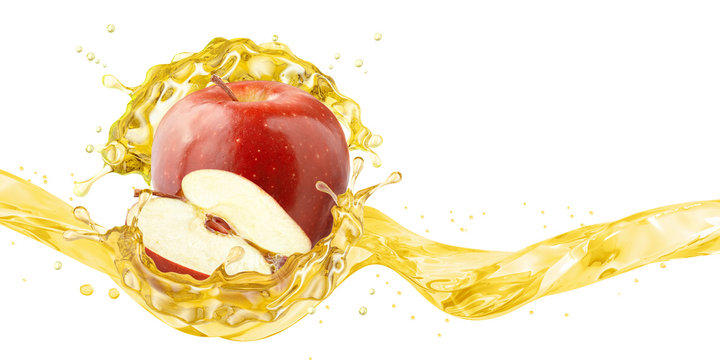 Fresh ripe apple, apple slice and juice or cider vinegar splash wave. Fruit healthy drink liquid design element. Tasty red apple fruit juice splashing isolated, detox concept. Clipping path. 3D render