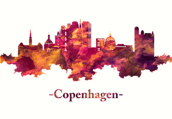 Fototapete - Copenhagen Denmark skyline in red