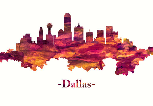 Dallas Texas skyline in red