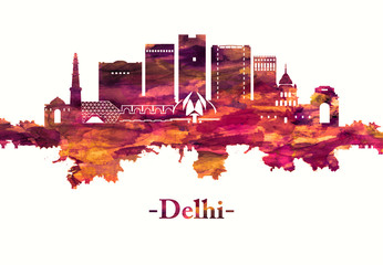 Wall Mural - Delhi India skyline in red