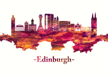 Fototapete - Edinburgh Scotland skyline in red