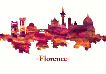 Fototapete - Florence Italy skyline in red