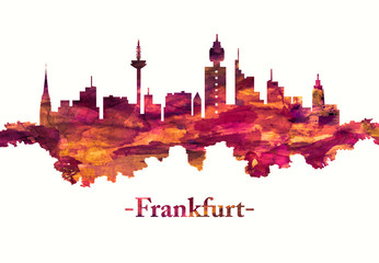 Fototapete - Frankfurt Germany skyline in red