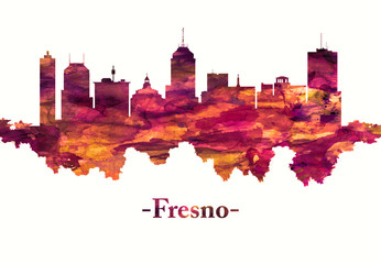 Fototapete - Fresno California skyline in red
