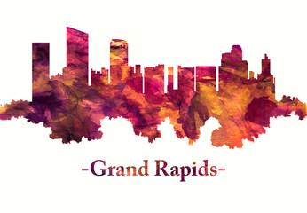 Wall Mural - Grand Rapids Michigan skyline in red
