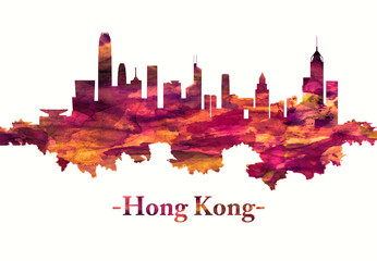Hong Kong China skyline in red Fotomurales