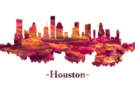Houston Texas skyline in red
