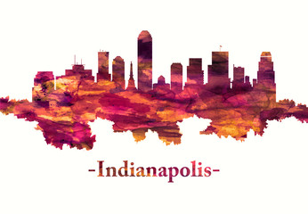 Fototapete - Indianapolis Indiana skyline in red