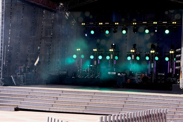 musician Asli Gungor on a charity event in Turkish summer and vacation town central square during a public concert without press involved