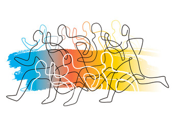 Running race, competition, line art stylized.  Colorful lineart stylized illustration of running racers on gradient abstract background. Vector available.