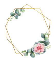 Watercolor vector composition from the branches of eucalyptus, flowers of succulents and gold geometric frame.