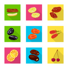 Fototapete - Isolated object of fruit and dried  sign. Collection of fruit and food  vector icon for stock.
