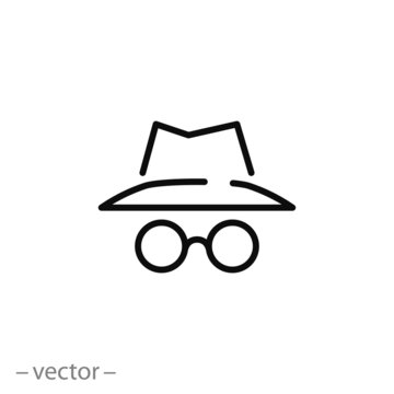 spy icon, secret agent, incognito line sign on white background - editable stroke vector illustration eps10