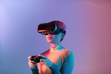 Creative shot of young adult using VR