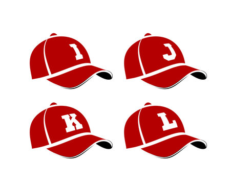 Baseball caps with capital letters of the alphabet, can be used as abbreviations player names or team names. illustration