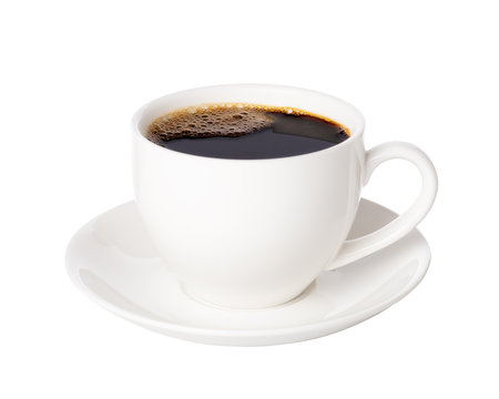 Black coffee in cup isolated on white background.