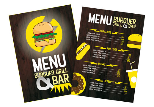 Burger Restaurant Menu with Yellow Accents