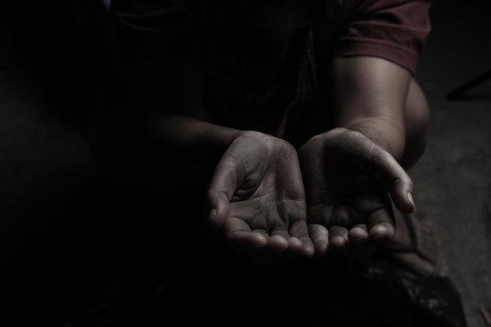 hands poor or beggar begging you for help.