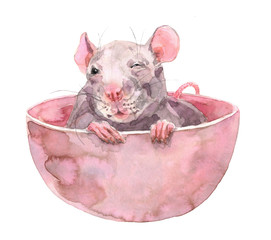 2020 Happy New Picture. Cute Rat. Greeting watercolor illustration. Symbol of winter holidays. Chinese Zodiac sign. Perfect for calendar and celebration card