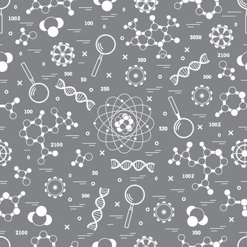 Seamless pattern with variety scientific, education elements.