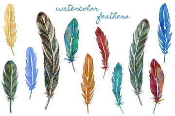 Set of colorful watercolor feathers. Hand drawn