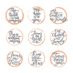 Set of hand drawn religions lettering vector