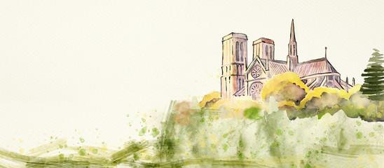 Notre Dame of Paris. Watercolor background