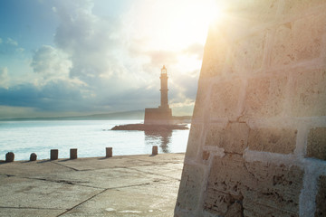 The lighthouse and Fortress Firkas in old port of Chania, Crete, Greece