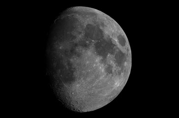 Great waxing gibbous Moon phase, isolated in the black space, taken with large diameter telescope.