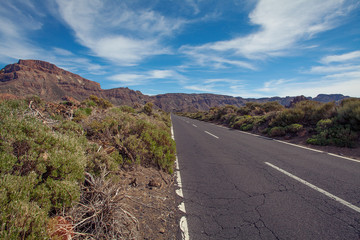 Road  in Mountain on Canary Islands Tenerife. Landscape with road, mountain and sky