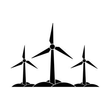 Wind turbines farm icon, sign or logo