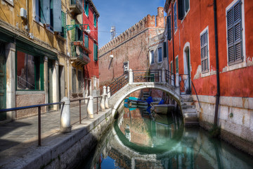 Small bridge at the Arsenal wall in Venice, Italy