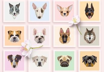 12 Geometric Dog Icons