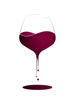 Wine shop or wine menu. Logo or emblem with a wine glass and wine splashing in it. Vertical layout.