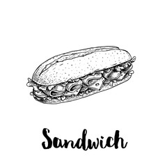 Photo sur Aluminium Snack Long chiabatta sandwich with ham slices, cheese, tomatoes and lettuce leaves. Hand drawn sketch style. Fast food drawing for restaurant menus, street food packages. Vector illustration.