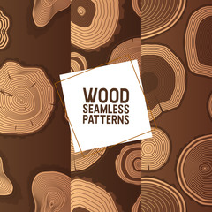 Wood vector seamless pattern wooden circle rings tree log lumbers logging trunks and hardwood timbered materials in sawmill illustration backdrop lumbering set of firewoods background