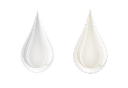White liquid fresh milk or cream droplets isolated on white. Glossy shining milk, almond milk, cream, shampoo, cosmetic soap, white paint drop. Liquid droplet design element. 3D render