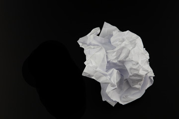 Paper  crumpled isolated on black  background. Clipping path.