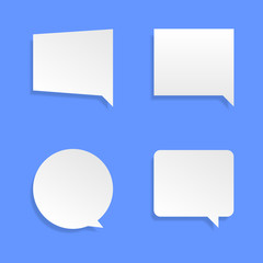White speech bubbles. Thinking balloon talks bubbling chat comment cloud comic retro shouting voice shapes vector isolated set. All elements are isolated.EPS 10.