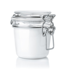 Front view of glass cosmetic cream jar