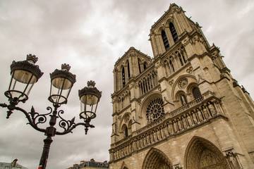 Exterior of Notre Dame Cathedral on a Cloudy Spring Day