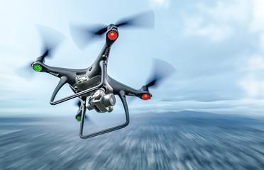 Dark drone in flight over the city.