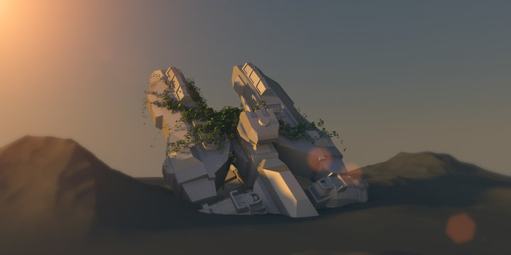 Spacecraft wreck on the dead planet 3D render