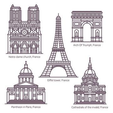 Set of line isolated French sightseeing landmarks