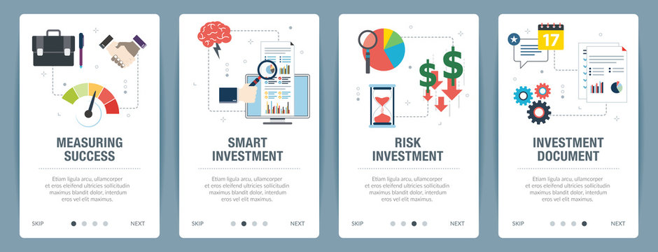Web banners concept in vector with measuring success, smart investment, risk investment and investment document. Internet website banner concept with icon set. Flat design vector illustration.