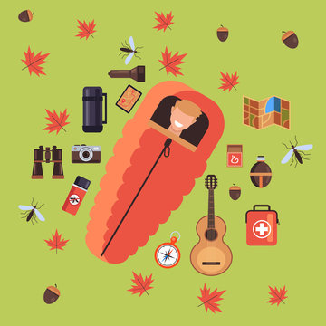 Man tourist character sleep in sleeping bag. Vector flat cartoon graphic design illustration