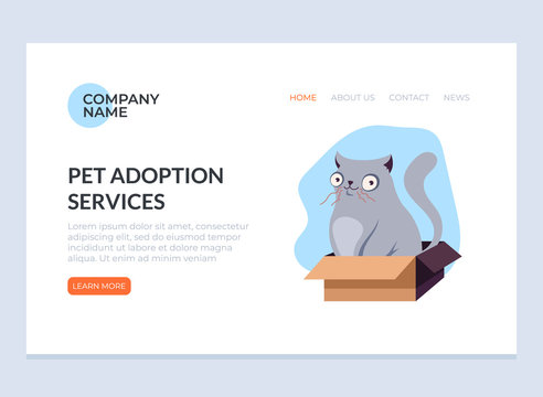 Pet adoption concept. Vector flat graphic design web page banner poster illustration