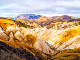 Landscape at Landmannalaugar in rhyolite mountains of the Fjallabak Nature Reserve, aka Rainbow mountains, Iceland